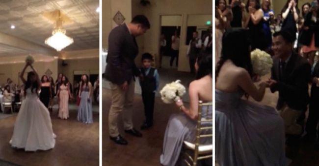 Durante casamento, noiva entrega buquê para a irmã, que recebe pedido de casamento!
