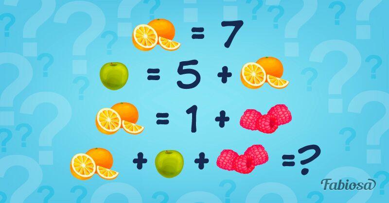 Desafio das frutas: qual é o resultado desta equação?