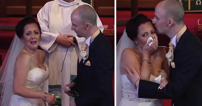 Su novio interrumpe la boda y le pide que mire hacia atrás; cuando ve lo que hay rompe en llanto.