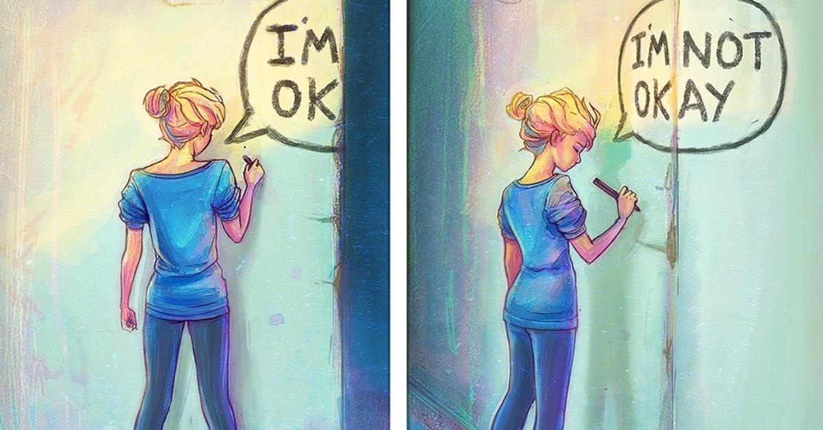 Mujer muestra cómo es tener depresión con sus pinturas