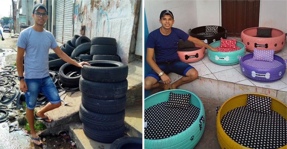 Hombre transforma neumáticos usados en bellas camas para animales.