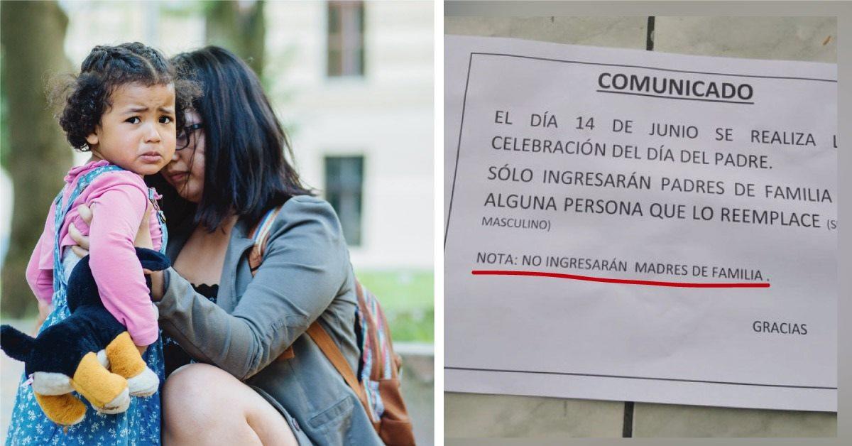 Escuela primaria prohibió a madres solteras asistir a celebración del Día del Padre