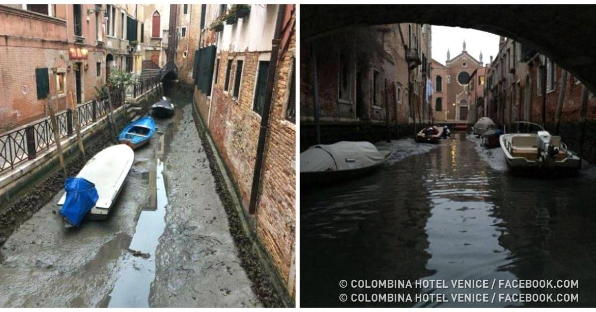 Los canales de Venecia se quedaron sin agua, y vale la pena verlo