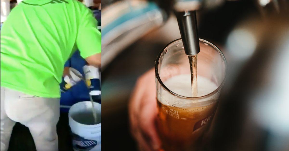 Vendedores en estadio juntaban la cerveza que sobraba en los vasos y la volvían a vender
