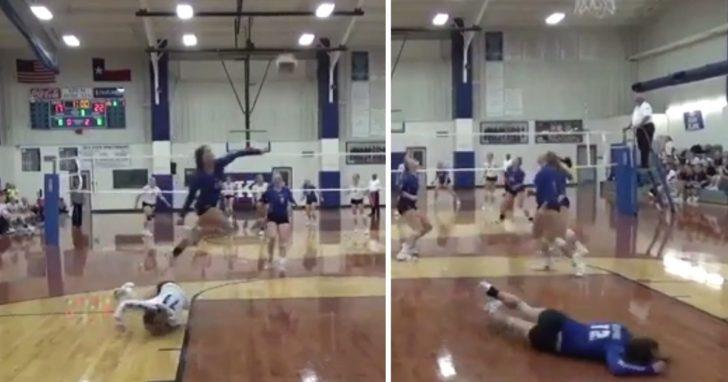Jugadora de Vóley de secundaria vuela sobre compañera de equipo para salvar una pelota, volviendo loca a la multitud