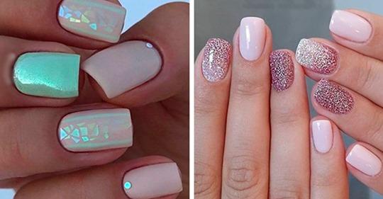 Manicura lujosa y elegante para las uñas cortas