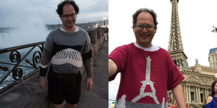 Teje sus propios suéteres para que combinen con cada lugar que visita