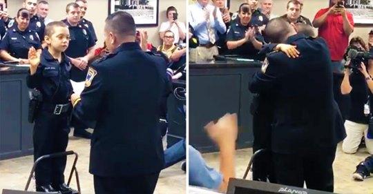 Pequeña niña con cáncer logra hacer realidad su deseo de convertirse en oficial de policía