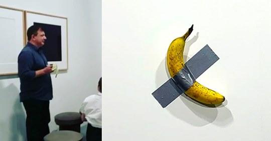 Pela un plátano de una galería de arte valorado en 0.000 y se lo come