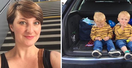 Mujer se venga con un pañal sucio en un parking