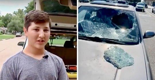 Chico de 12 años salva a un bebé atrapado en un auto caliente luego de romper el parabrisas