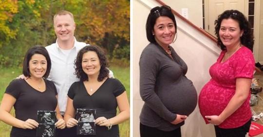 Estas hermanas esperaban mellizos del mismo hombre y dieron a luz el mismo día.