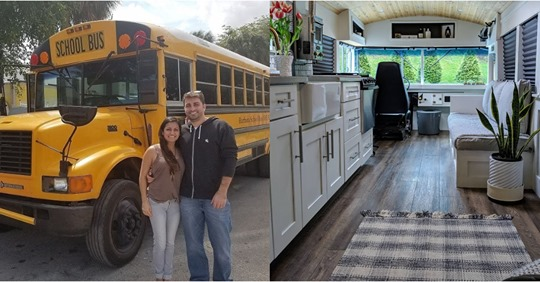 Pareja convierte un viejo autobús escolar en soñada casa para recorrer el mundo