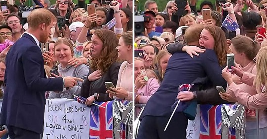 El príncipe Harry abraza a una fan adolescente, saltándose el protocolo real