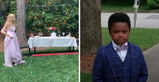 Chico de 7 años organiza una fiesta de graduación para su niñera luego de que la cancelaran por la pandemia