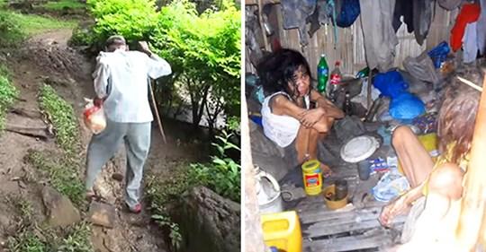 Un anciano camina kilómetros para poder alimentar a sus hijas discapacitadas, pero recibe la ayuda de unos buenos samaritanos