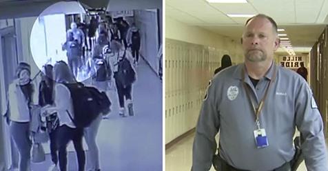 El oficial de la escuela hace contacto visual con una adolescente y la agarra justo antes de que sea demasiado tarde