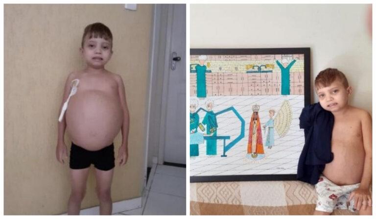 Niño de 13 años sufre una extraña enfermedad y dibuja pinturas de santos para vender y así costear su tratamiento