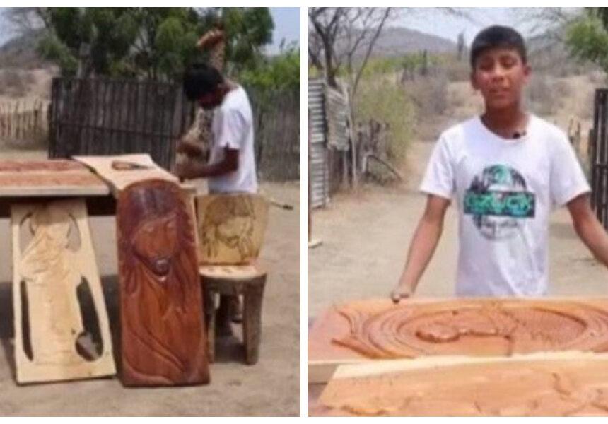 Niño de 13 años es un experto escultor y así lo demuestra