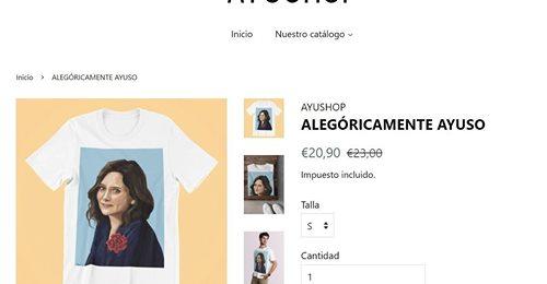 Camisetas, bolsos y polos con el rostro de Díaz Ayuso: el éxito de una web de 'merchandising' de la candidata 'popular'