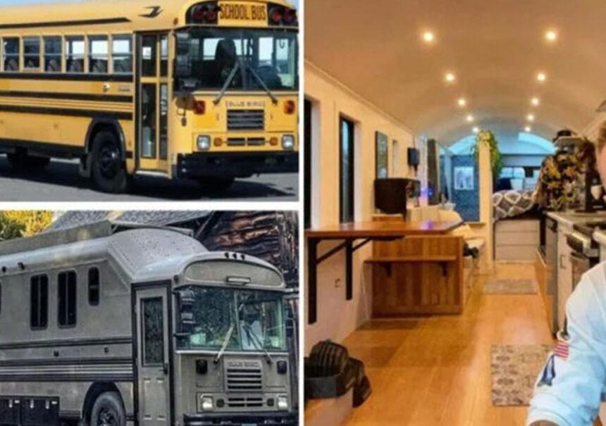 Se quedó sin trabajo y sin novia, así que remodeló un autobús escolar y ahora viven en el