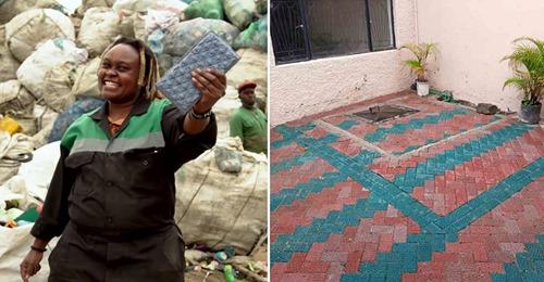 Una mujer de Kenya convierte plástico en ladrillos más resistentes que el hormigón