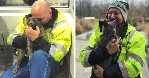 Un conductor de camión llora cuando se reencuentra con su gato tras meses buscándolo